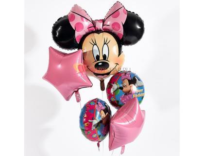Букет из фигуры голова Минни Мауса и 4 фольгированных шаров