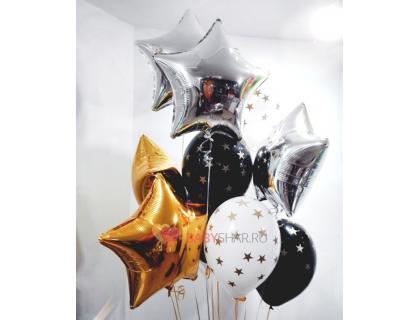 Облако воздушных шаров со звёздами и фольгированными шариками