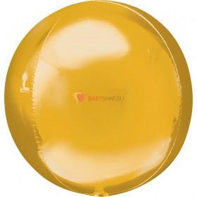 Шар 3D СФЕРА без рисунка Металлик Gold (43 см)