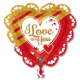 Шар джамбо LOVE Золотое и красное