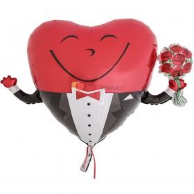 Шар ФИГУРА P30 Сердце в смокинге с букетом