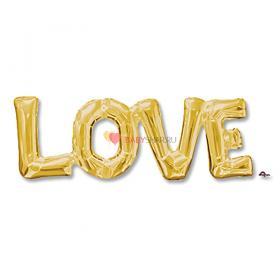 Шар надпись LOVE золото