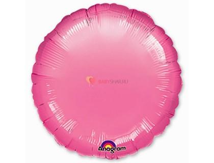 """Фольгированный круг 18""""  Ярко-розовый"""