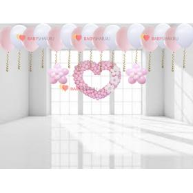 Шары под потолок, сердце, цветочки белого и розового цвета на выписку