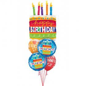 "Букет шаров ""Торт со свечками Happy birthday"""