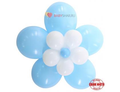 Цветочек из шариков на выписку для малчьика