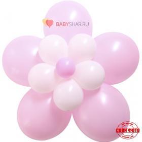 Цветок из шаров розового цвета на выписку из роддома для девочки