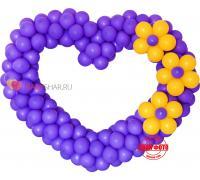 Сиреневое сердце из шаров с цветами