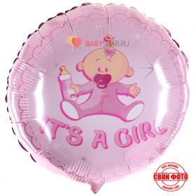 Розовый, фольгирвоанный шар с изображением малышки