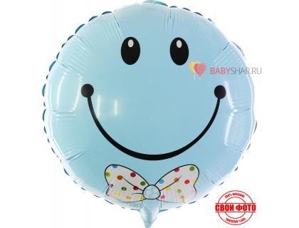 Фольгированный круглый шарик с улыбкой и бабочкой голубого цвета
