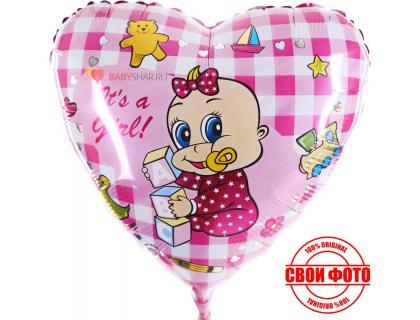 Сердце розовое с малышкой it`s a girl