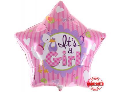 Стильный розовый шар в форме звезды с аистом и надписью it`s a girl