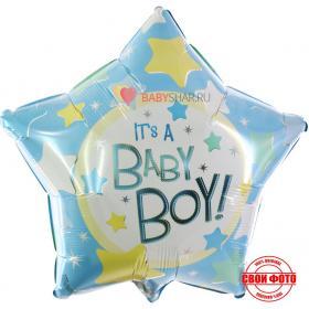 Тематическая фольгированная звезда на выписку для мальчика